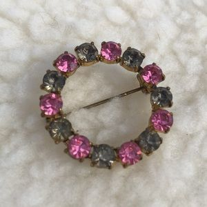 Pink and Gray Rhinestone Brooch